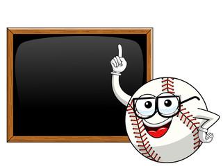 baseball ball character mascot cartoon teacher blank blackboard or chalkboard vector isolated