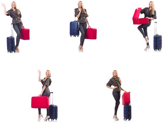 Beautiful woman with suitcase in vacation concept