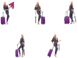 Young beautiful woman with suitcase and umbrella isolated on whi