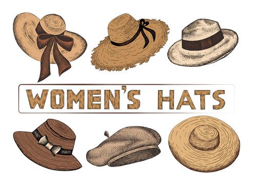 Vector illustration of hand drawn set of sketch colorful women's hats. Vintage and retro style. Female Fashion. Shopping, shop, store.