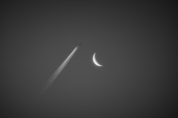 Airplane reaching the Moon