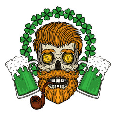 Irish skull. The skull of Saint Patrick's with glass beer and clover leaves.