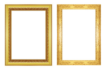 Set of antique gold frame isolated on white background, clipping path