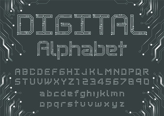 Vector of circuit board font and alphabet