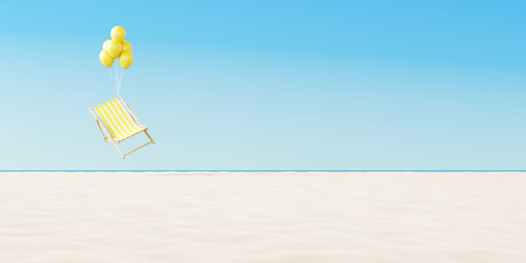 Floating yellow chair on the beach.  Minimal summer vacation concept. 3d rendering Wall mural