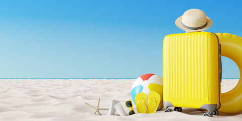 Wall Mural - Yellow suitcase with beach accessories on sand. Travel summer vacation concept. 3d rendering