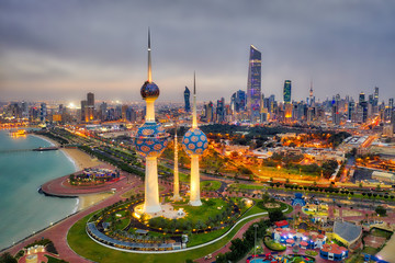 Kuwait Tower City Skyline glowing at night, taken in Kuwait in December 2018 taken in hdr Wall mural