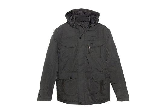 Black winter jacket isolated on white background