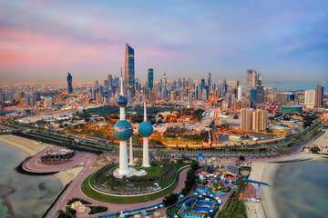 Kuwait Tower City Skyline glowing at night, taken in Kuwait in December 2018 taken in hdr Fototapete