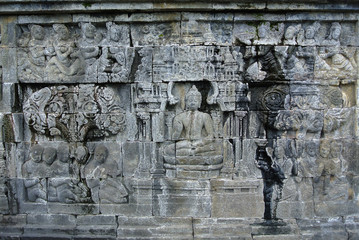 Religious Place Wall lintel decorative Asia Cultural Heritage Stone bas-relief on the wall of Borobudur, Java, Indonesia