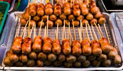 Thailand street food Pork and Rice Sausage (Sai Krok Isan)