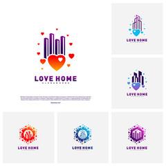 Set of Modern City Love Logo Design Concept. Business Love Building Logo Vector Template
