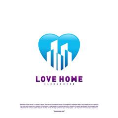 Modern City Love Logo Design Concept. Business Love Building Logo Vector Template