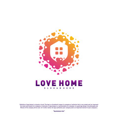 Love Home Logo Design Concept. Business Love House Logo Vector Template