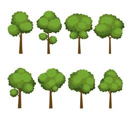 Set of cartoon trees on white background
