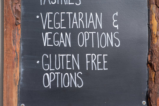 Gluten free and vegan options sign