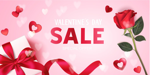 Valentine's day sale design template. Pink banner with gift box, red rose and decorative heart confetti. Vector illustration