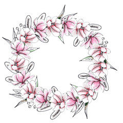 Floral watercolor and sketching wedding handpainted wreaths with delicate pink and monochrome flowers