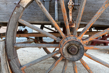 Old wagon wheel detail