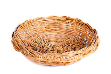 Basket wicker on isolated white background.
