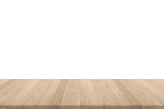 Isolated wood floor or  tabletop  with edge on white wall background in light  sepia brown