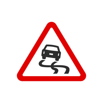 triangle slippery road signs