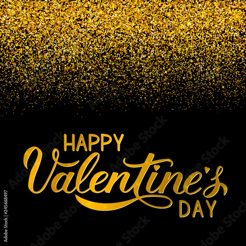 Happy Valentine's Day gold writing on black background with golden