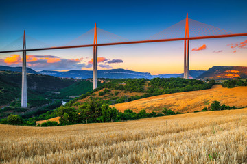 Superb engineering solution and panorama, viaduct of Millau, Aveyron, France Wall mural