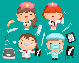 an image set of doctors and nurses with medical equipment