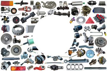 Auto spare parts car on the white background. Set with many isolated items for shop or aftermarket Wall mural