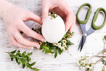 How to make easter wreath for egg with buxus and chamelaucium, tutorial.
