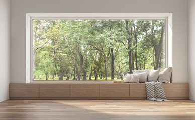 Side window seat 3d render.There are white room,wood seat,decorate with many pillow.There are big  windows look out to see nature view.