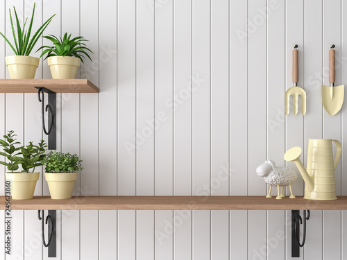 Wood shelf 3d render,There are empty white plank wall,Decorate with