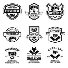 Set of meat store, butchery emblems. Design element for logo, label, sign, poster, banner.