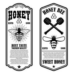 Vintage natural honey flyer templates. Design elements for logo, label, sign, badge.