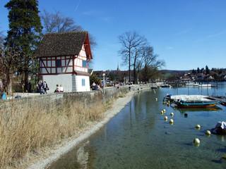 The Rhine river in the town of Stein am Rhein - Canton of Schaffhausen, Switzerland