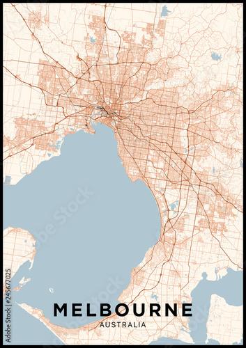 Melbourne Australia City Map.Melbourne Australia City Map Poster With Map Of Melbourne In