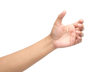 Hands holding something on white background with clipping path.