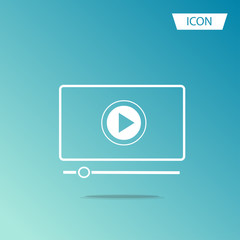 button play video on Desktop icon isolated on background.button play video on Desktop icon isolated on background.