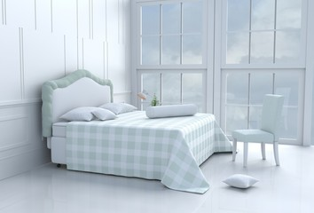 Green bed room decorated with tree in glass vase, pillows, white blanket, Window, Sky, Lamp,White wall it is pattern,chair. White floor. 3d rendering.