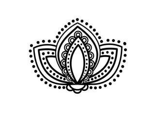 Lotus floral pattern design on white background