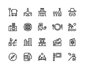 Travel line icons. Vacation plane tourism summer airplane luggage forest adventure, museum restaurants and shopping tour vector set