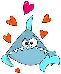 Light Blue lovely shark on a white background with orange hearts. Congratulations on Valentines Day. Cute cartoon character to print postcards, on clothes, party decor