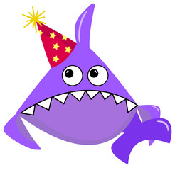 Party Shark cartoon sea animal purple shark on a white background in a red cap with yellow stars. Cartoon character for printing on clothes or cards, invitations, posters on the wall, banners, gifts.