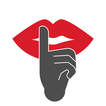Finger on lips. Vector illustration.
