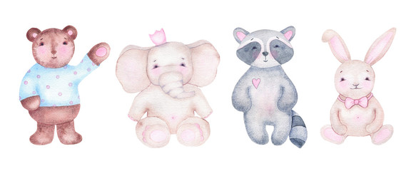 Watercolor cute bear elephant raccoon and bunny isolated