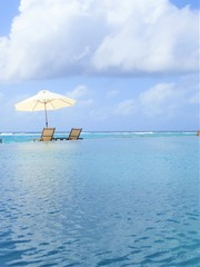 Beautiful beach and pool in Maldive island resort