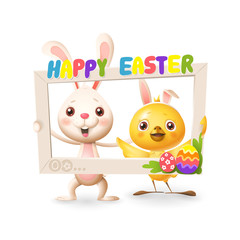 Easter animals - Happy cute bunny and chicken celebrate Easter with social network photo frame - isolated on white background