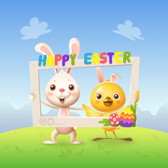 Easter animals - Happy cute bunny and chicken celebrate Easter with social network photo frame - spring landscape background