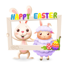 Easter animals - happy cute bunny and lamb celebrate Easter with social network photo frame - isolated on white background